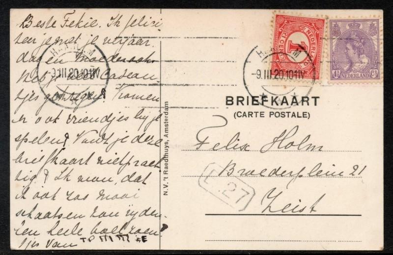 Briefkaart met machinestempel HAARLEM naar Zeist.