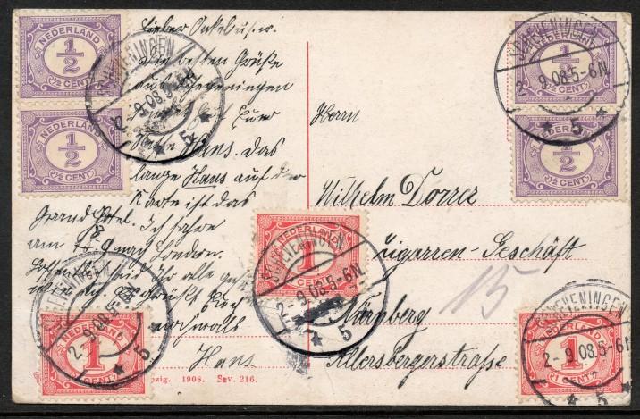 Briefkaart uit 1908 verstuurd vanuit Scheveningen naar Duitsland.