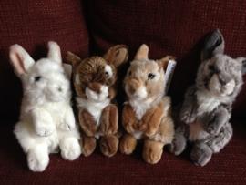 Pluche konijntjes 17 cm in 4 kleuren (alleen nog 1 x wit)