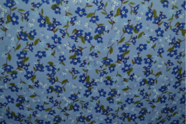 Katoen poplin-blauw bloem