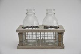 Tray hout/gaas met 2 flessen grey wash