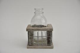 Tray hout/gaas met 1 fles grey wash