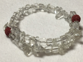 Bergkristal met bruin/rood