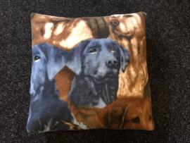 Fleece kussen honden print 001