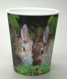 3 D beker 2 konijnen