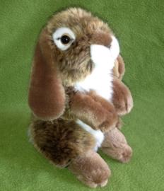 pluche konijn 19cm donker bruin-wit