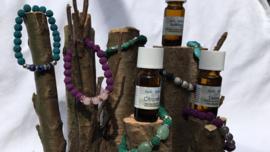 geur-armband lava en edelstenen