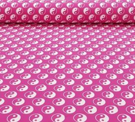 Katoen tricot  Yin en yang roze