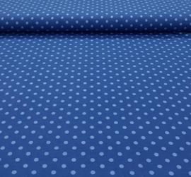 Katoen tricot stippen blauw