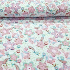 Knuffel fleece bloemen wit/roze  (binnenkort verkrijgbaar_