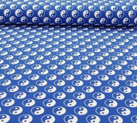 Katoen tricot Yin en yang Kobalt blauw