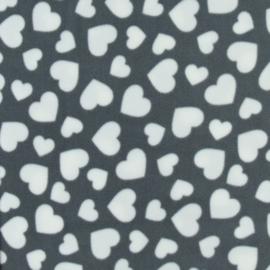 Grijs met witte hartjes