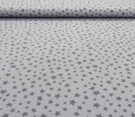 Katoen tricot sterren grijs