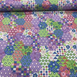 Bedrukte katoen zeshoek bloem en stip roze/paars/blauw