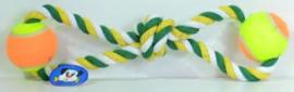 Speeltouw met 2 Ballen geel