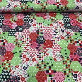 Bedrukte katoen zeshoek bloem en stip rood/blauw/roze/groen