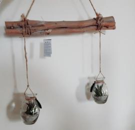 Hanging twig bundle with bottles