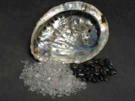 Abalone schelp met op- en ontlaad set klein