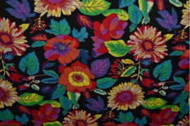 katoen poplin-gekleurde bloemen 01