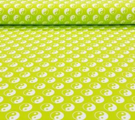 Katoen tricot Yin en yang groen