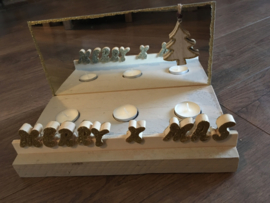 Merry x mas met spiegel kerstboom