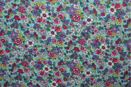 Katoen poplin-print-gekleurde bloemen 02