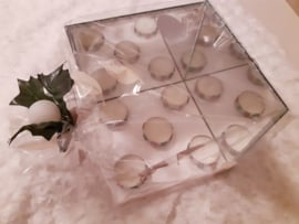 Waxine lichtjes met spiegels zilver
