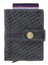 Leather Design Safety Wallet M Blauw