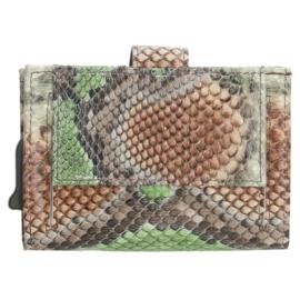 Charm Safety Wallet / Pasjeshouder Leer Cognac/Groen