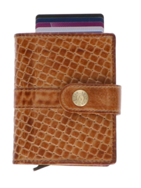 Leather Design Safety Wallet S Cognac