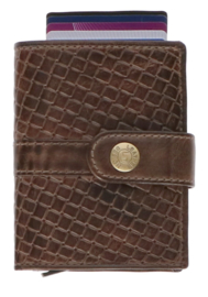 Leather Design Safety Wallet S Bruin