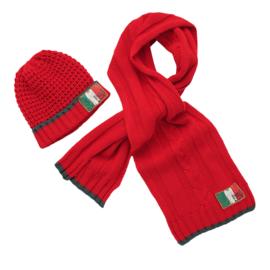 Vingino Vazio Boys set sjaal en muts Bright Red Maat L/XL