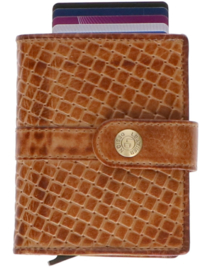 Leather Design Safety Wallet M Cognac