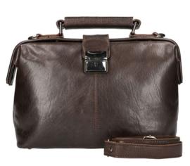 Leather Design Dokterstas Klein Donker Bruin