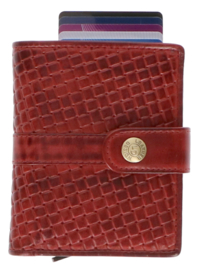 Leather Design Safety Wallet M Bordeaux