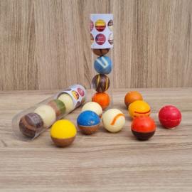 Chocolade Bikkels assorti à 5 stuks (koker 12½ cm)