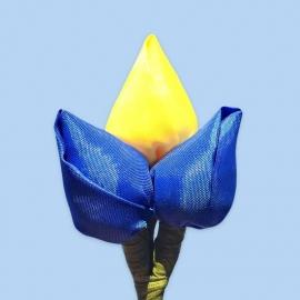 Tulp corsage blauw-geel-blauw