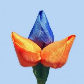 Tulp corsage oranje-blauw-oranje