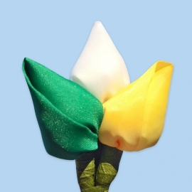 Tulp corsage groen-wit-geel