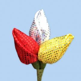 Tulp corsage rood-wit-geel met glitter
