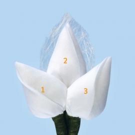 Tulp corsage met sizoflor blad wit - maatwerk