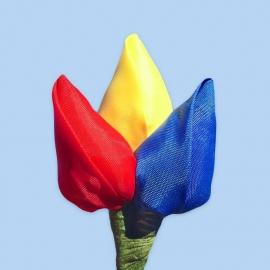 Tulp corsage rood-geel-blauw