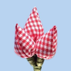 Tulp corsage rood-wit ruitjes klein