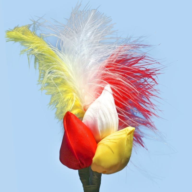 Tulp corsage rood-wit-geel met veren