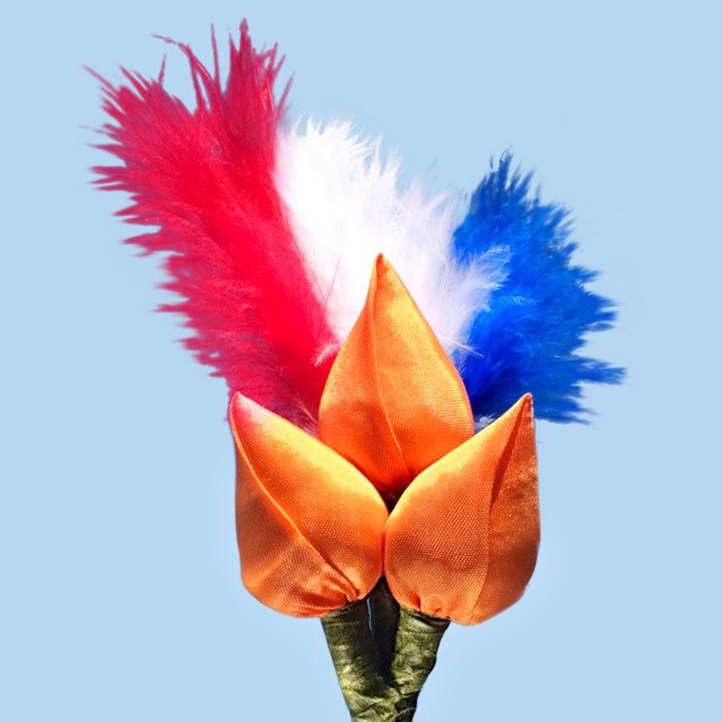 Tulp corsage oranje met veren