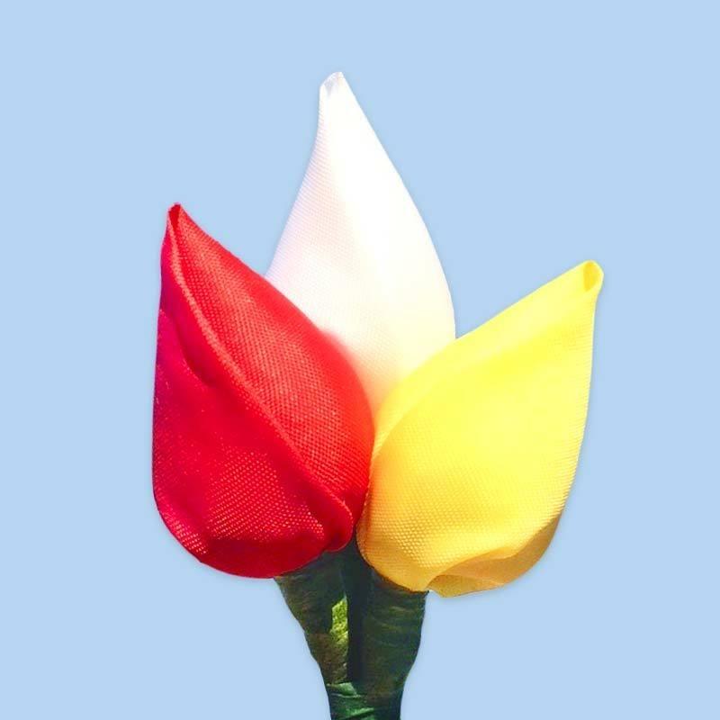 Tulp corsage rood-wit-geel 'Oeteldonk'