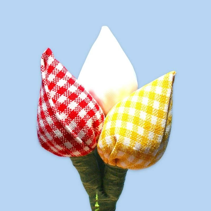 Tulp corsage rood-wit-geel ruit