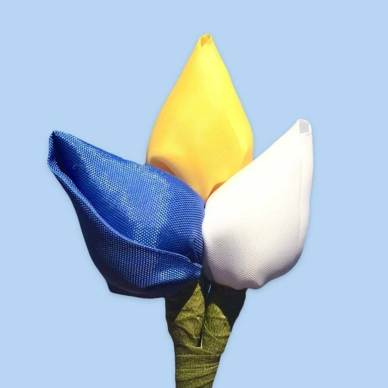 Tulp corsage blauw-geel-wit