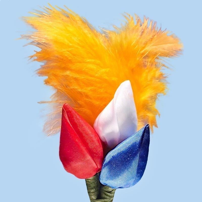 Tulp corsage rood-wit-blauw met veren