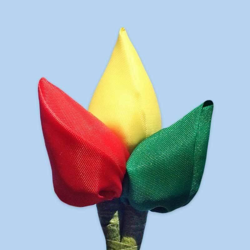 Tulp corsage rood-geel-groen